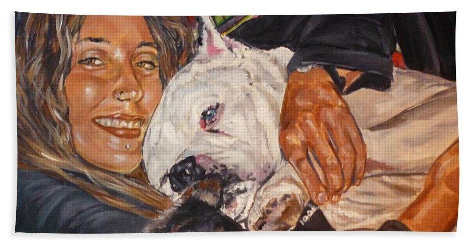 Pet Hand Towel featuring the painting Elvis And Friend by Bryan Bustard