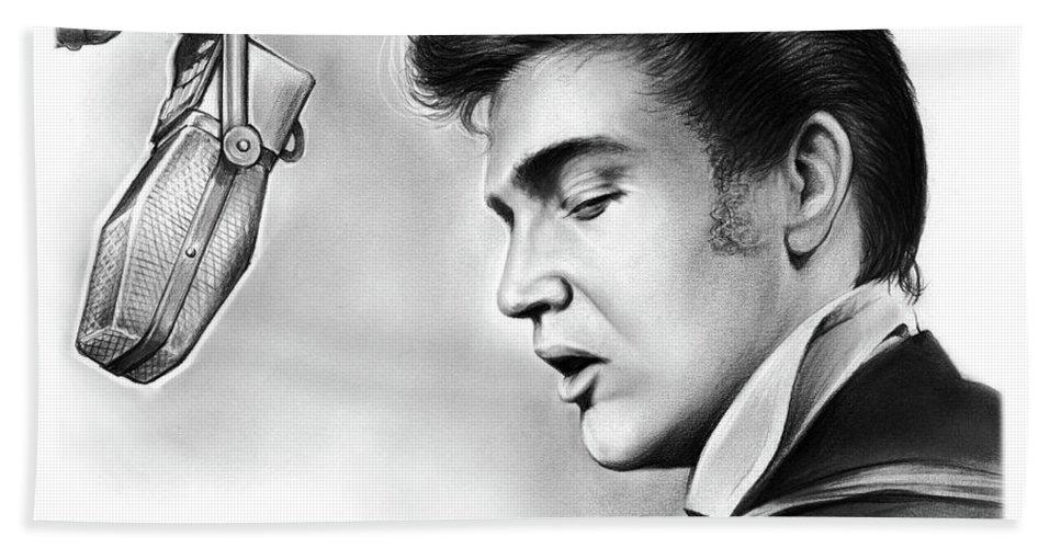 Elvis Hand Towel featuring the drawing Elvis Presley by Greg Joens