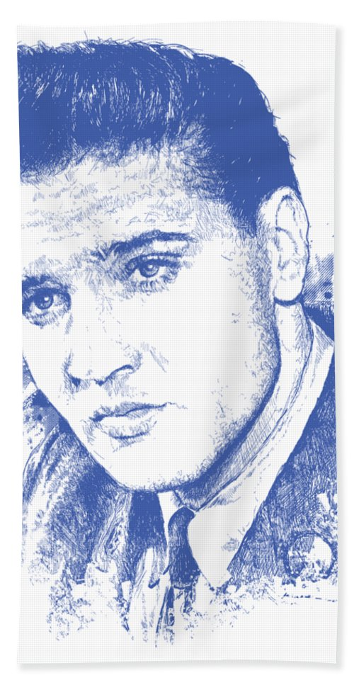 Chadlonius Bath Towel featuring the digital art Elvis Presley Portrait by Chad Lonius