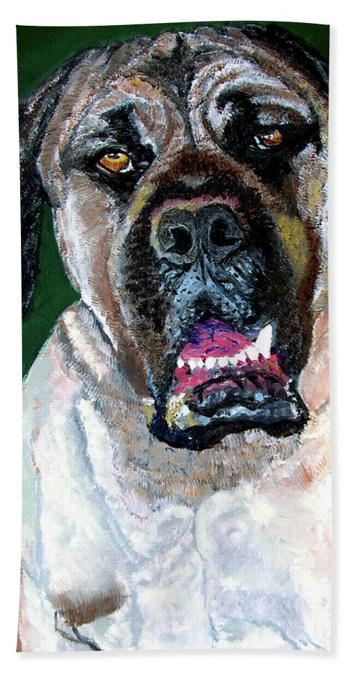 Dog Portrait Bath Towel featuring the painting Ely by Stan Hamilton