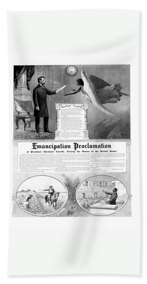 Emancipation Proclamation Hand Towel featuring the mixed media Emancipation Proclamation by War Is Hell Store