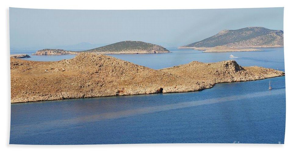 Halki Bath Sheet featuring the photograph Emborio Harbour On Halki Island by David Fowler