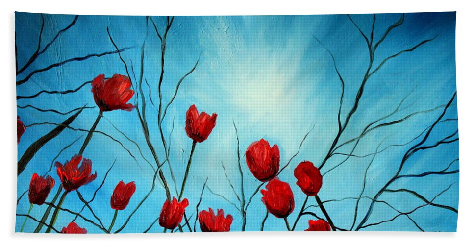 Tulips Bath Sheet featuring the painting Embrace by Elizabeth Robinette Tyndall