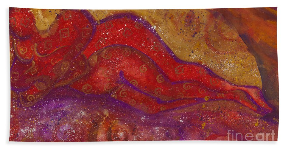 Ilisa Millermoon Bath Sheet featuring the painting Embrace Divine Love Series No. 1230 by Ilisa Millermoon