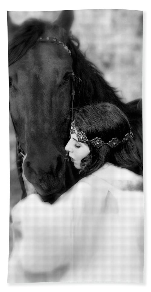 Horse Bath Towel featuring the photograph Embrace by Jean Hildebrant