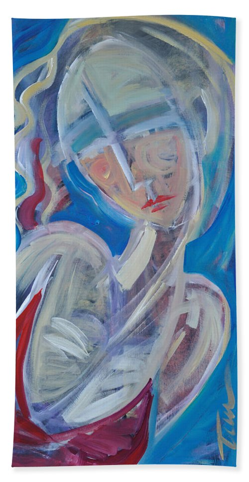 Woman Bath Sheet featuring the painting Embrace Me by Tim Nyberg