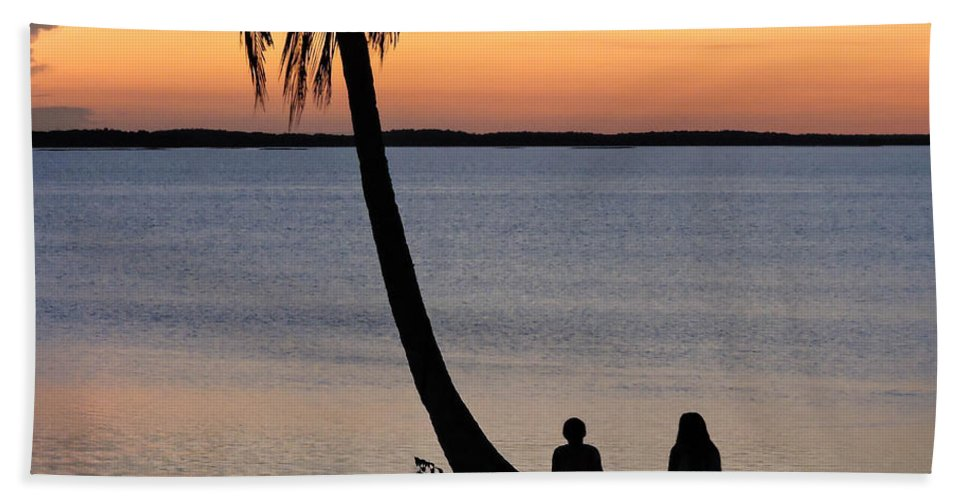 Sunset Bath Sheet featuring the photograph Embracing The Moment by Marilee Noland