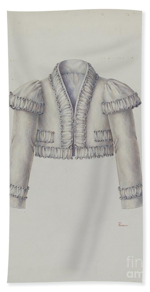 Hand Towel featuring the drawing Embroidered Bolero Jacket by Hal Blakeley