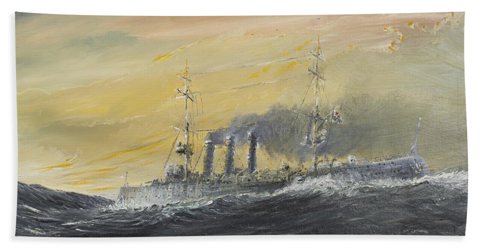 Emden Hand Towel featuring the painting Emden Rides The Waves by Vincent Alexander Booth