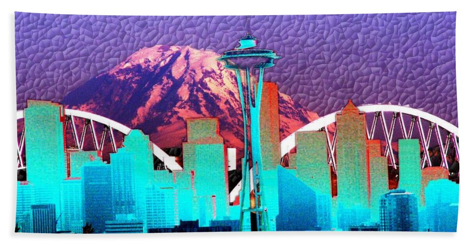 Seattle Hand Towel featuring the photograph Emerald City Diamonds by Tim Allen