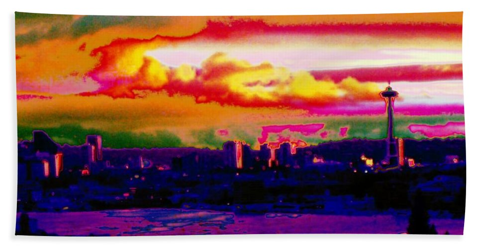 Seattle Hand Towel featuring the photograph Emerald City Sunset by Tim Allen