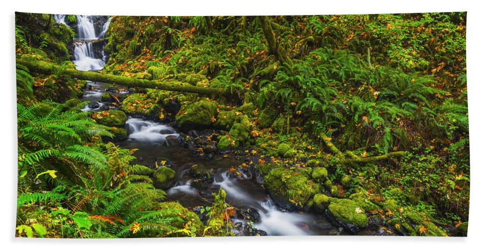 Emerald Falls Hand Towel featuring the photograph Emerald Falls And Creek In Autumn by Vishwanath Bhat