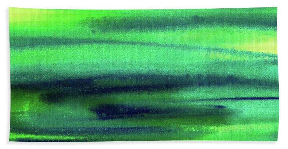 Emerald Bath Towel featuring the painting Emerald Flow Abstract Painting by Irina Sztukowski