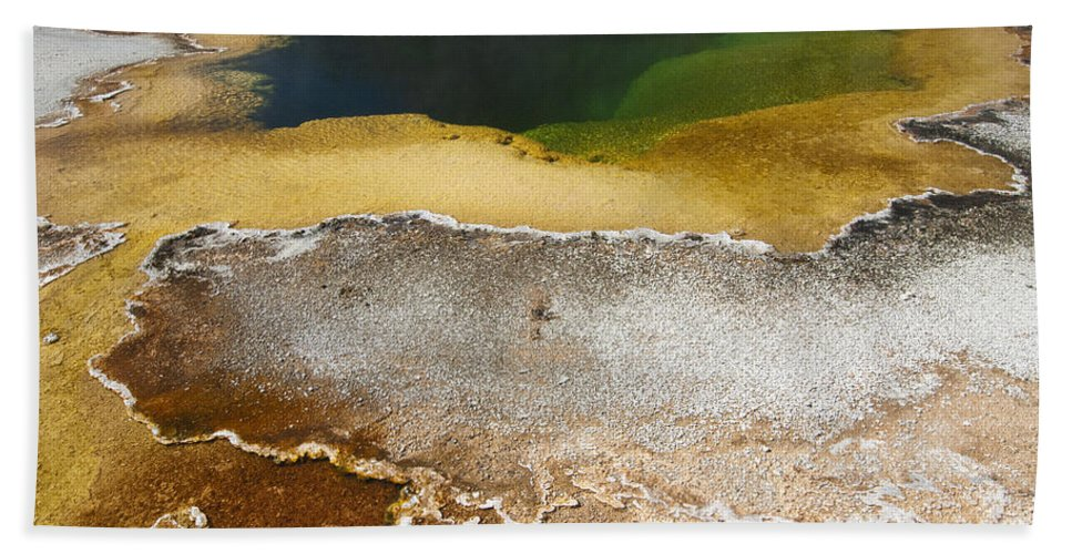 Yellowstone Bath Sheet featuring the photograph Emerald Pool - Yellowstone National Park by Sandra Bronstein