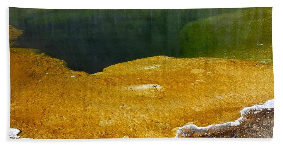 Hot Spring Bath Sheet featuring the photograph Emerald Pool Yellowstone National Park by Teresa Zieba