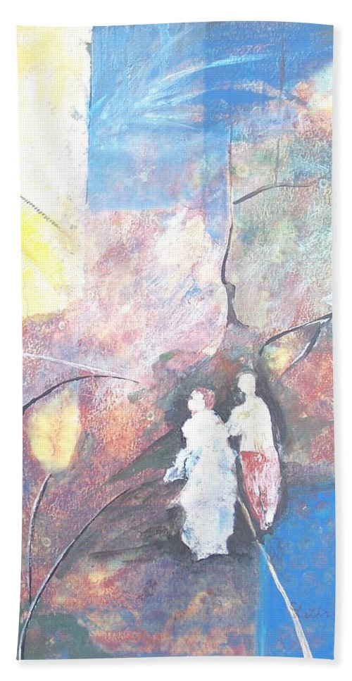 Collage Hand Towel featuring the painting Emergence by Christine Lathrop