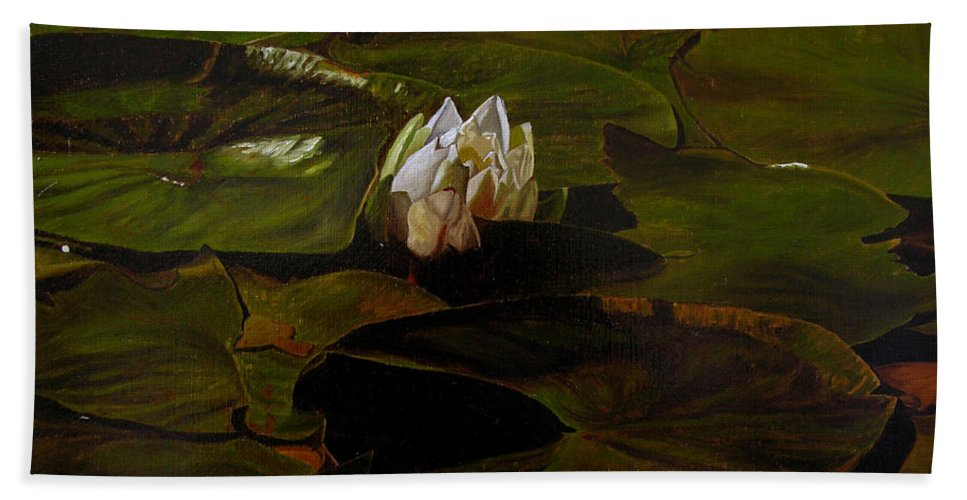Lily Pad Hand Towel featuring the painting Emerging One by Thu Nguyen