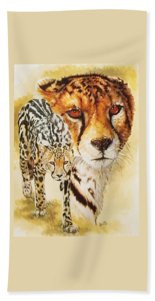 Cheetah Hand Towel featuring the mixed media Eminence by Barbara Keith