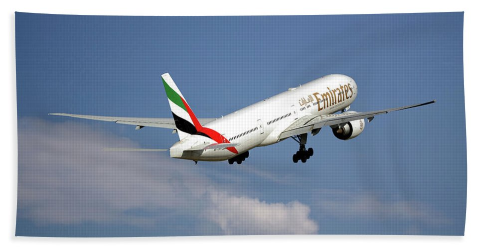 Emirates Hand Towel featuring the photograph Emirates Boeing 777-36n 4 by Smart Aviation