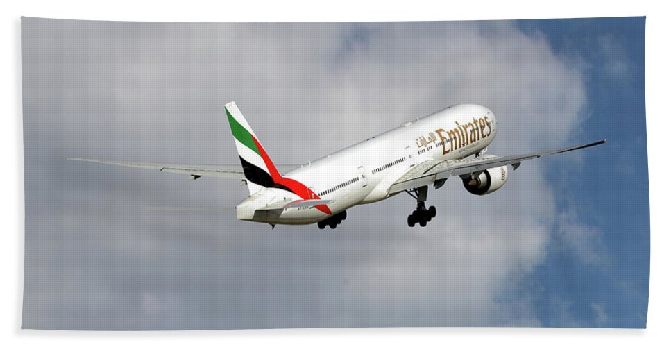 Emirates Hand Towel featuring the photograph Emirates Boeing 777-36n 5 by Smart Aviation