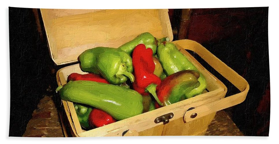 Peppers Bath Sheet featuring the painting Emmy's Peppers by RC DeWinter