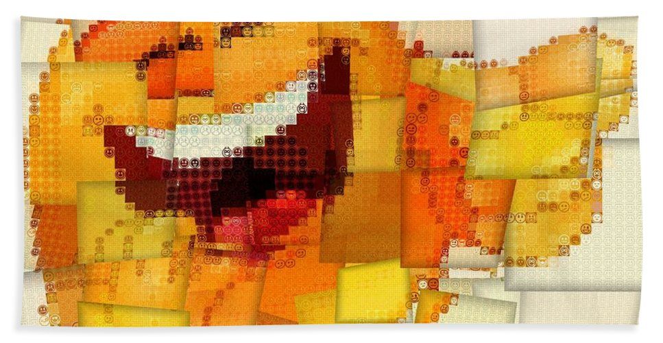 Emoticon Mosaic Cubism Hand Towel featuring the digital art Emoticon Mosaic Cubism by Dan Sproul
