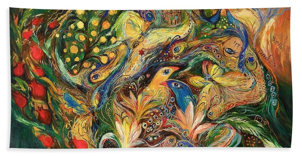 Original Bath Sheet featuring the painting Emotion In Green by Elena Kotliarker