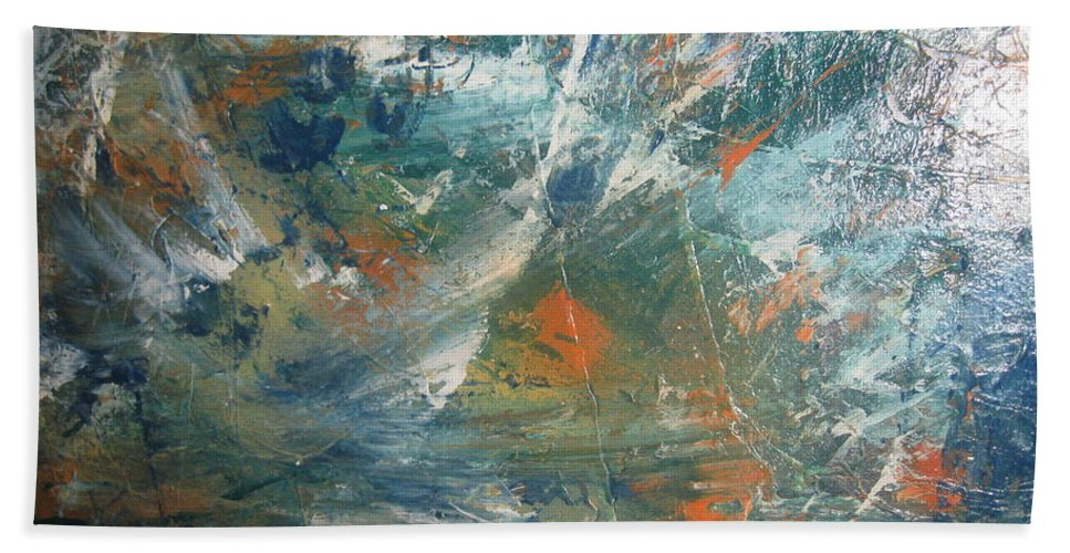 Non Duality Bath Sheet featuring the painting Emotional Deluge by Paula Andrea Pyle