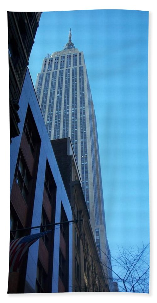 Emoire State Building Hand Towel featuring the photograph Empire State 1 by Anita Burgermeister