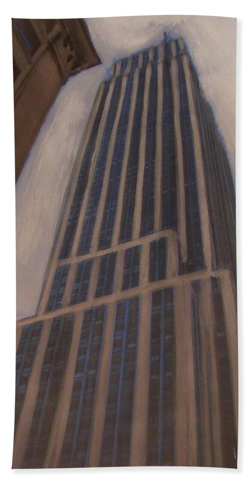 Empire State Building Bath Towel featuring the mixed media Empire State Building 1 by Anita Burgermeister
