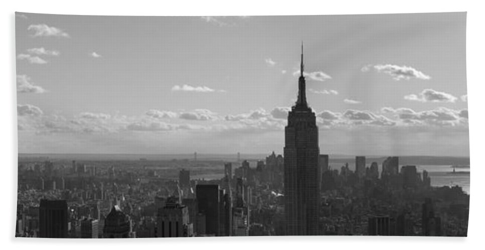 Cities Hand Towel featuring the photograph Empire State Building Panorama by BONB Creative
