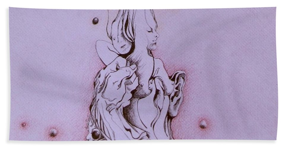 Surreal Aratwork Bath Sheet featuring the painting Empowerment by Jordana Sands