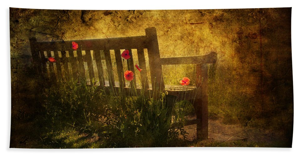 Background Bath Towel featuring the digital art Empty Bench And Poppies by Svetlana Sewell
