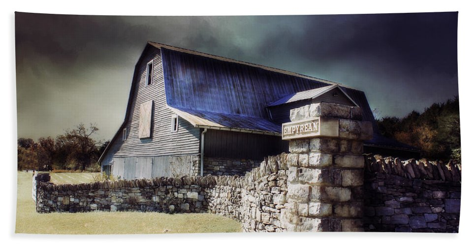 #barn Hand Towel featuring the photograph Empyrean Estate Stone Wall by Julie Hamilton