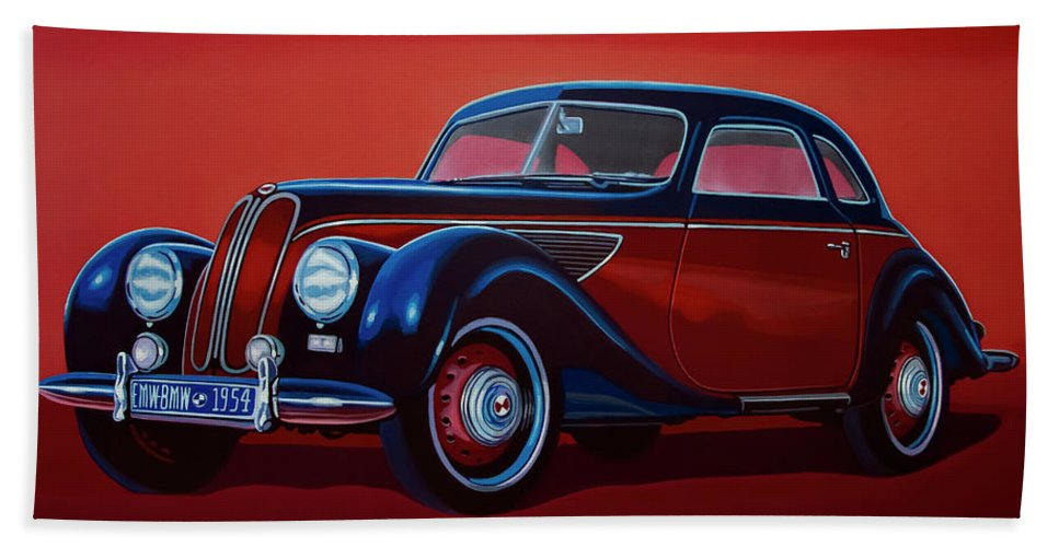 Emw Bmw Bath Towel featuring the painting Emw Bmw 1951 Painting by Paul Meijering