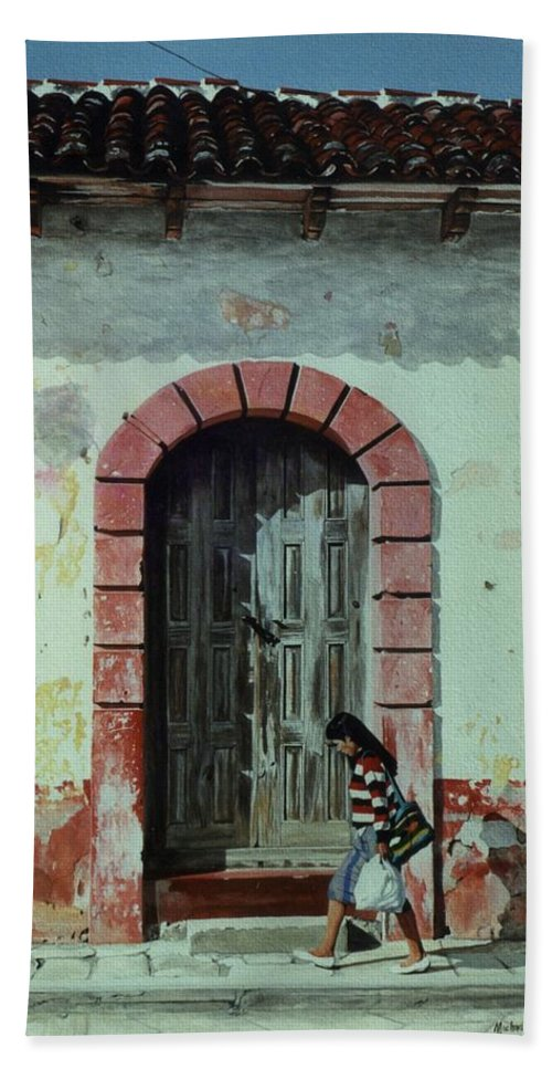 Hyperrealism Hand Towel featuring the painting En Calle Ejercito Nacional by Michael Earney