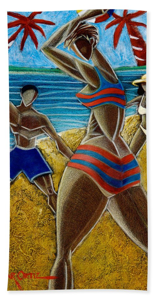 Beach Hand Towel featuring the painting En Luquillo Se Goza by Oscar Ortiz