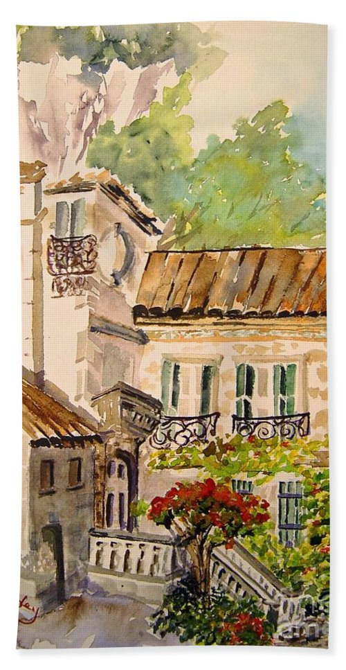 France Hand Towel featuring the painting En Plein air at Moulin de la Roque France by Joanne Smoley