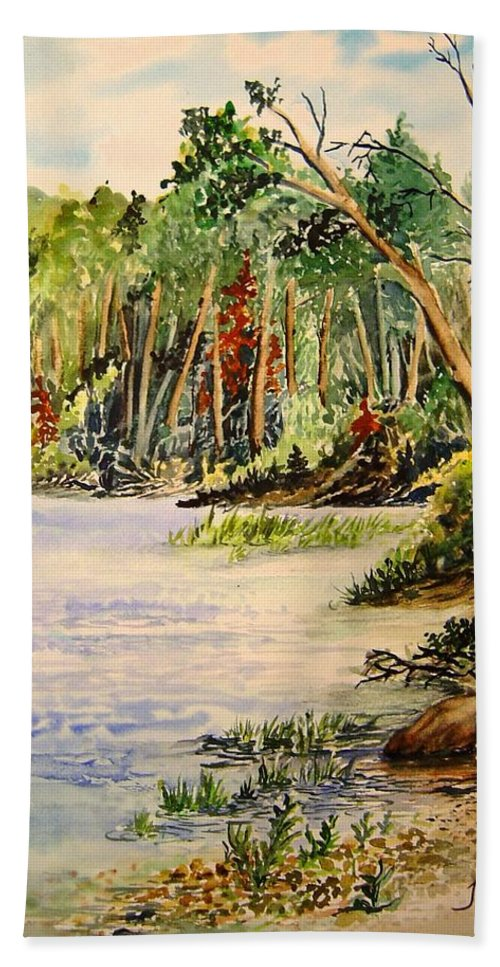 Otter Falls Manitoba Whiteshell Lake Landscape Hand Towel featuring the painting En Plein Air At Otter Falls Boat Launch by Joanne Smoley