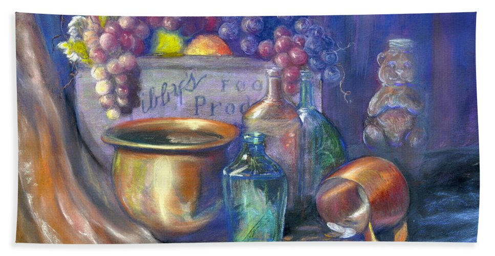 Pastel Art Work Hand Towel featuring the painting Enchanced Still Life Honey Bear by Penny Neimiller