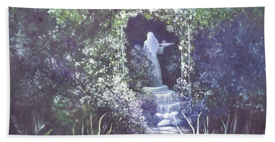 Arbor Hand Towel featuring the painting enchanced Temptation Coming by Penny Neimiller