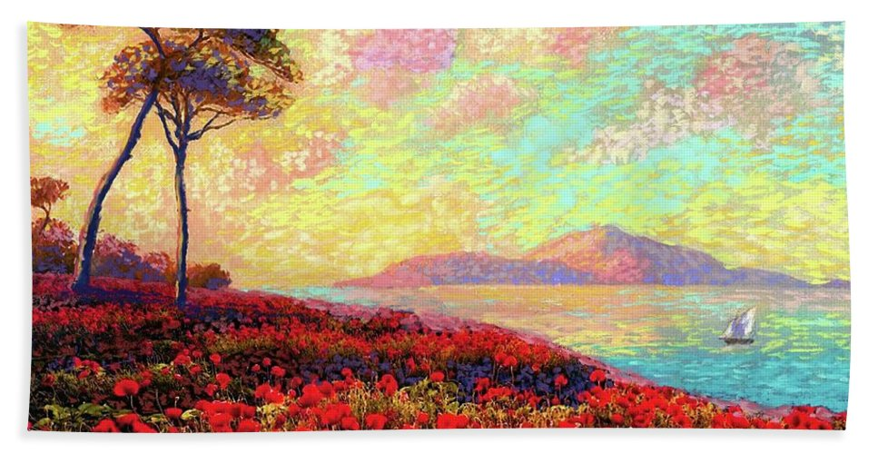 Wildflower Hand Towel featuring the painting Enchanted By Poppies by Jane Small