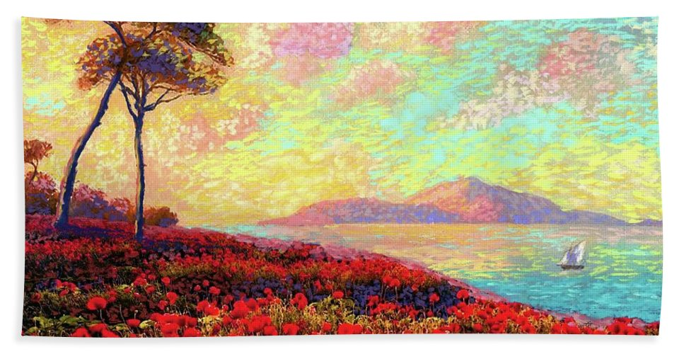Wildflower Bath Towel featuring the painting Enchanted By Poppies by Jane Small