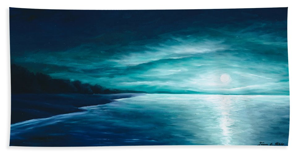 Moonscape Hand Towel featuring the painting Enchanted Moon I by James Christopher Hill
