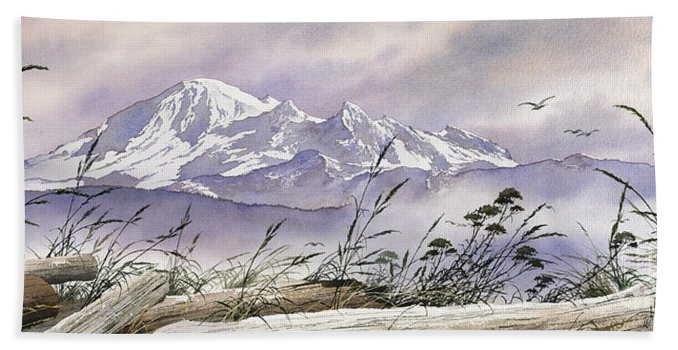 Landscape Fine Art Print Bath Sheet featuring the painting Enchanted Mountain by James Williamson