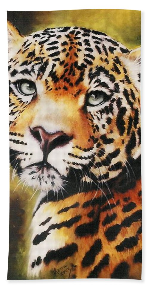 Jaguar Bath Towel featuring the pastel Enchantress by Barbara Keith