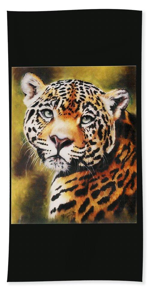 Jaguar Bath Towel featuring the pastel Enchantress by Barbara Keith