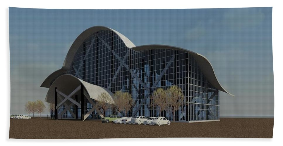 Building Rendering Bath Towel featuring the digital art Enclosure by Ron Bissett