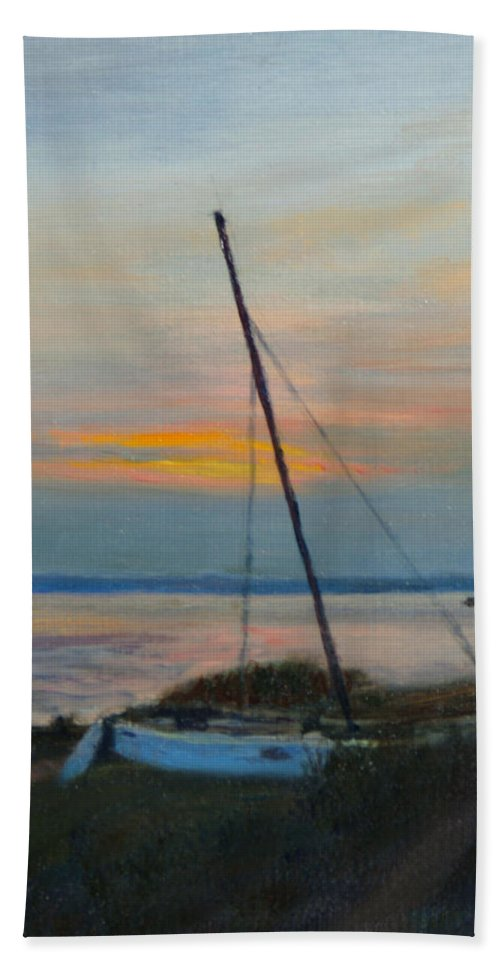 Landscape Hand Towel featuring the painting End Of The Day by Phyllis Tarlow