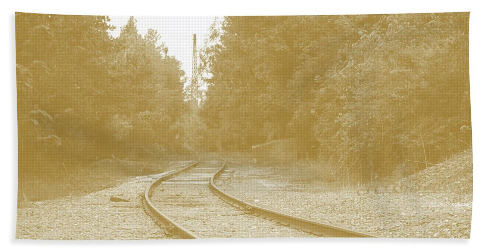 Rail Hand Towel featuring the photograph End Of The Rail-sepia by Jost Houk